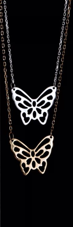 Talise.ro - #chain, #butterfly, #gold, #silver # lovely Butterfly Gold, Plating, Pendants, Chain, Diamond, Silver, Collection, Jewelry, Fashion