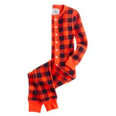 Boys' waffle union suit in buffalo check
