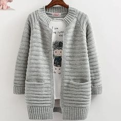 New Autumn Winter Fashion Women Long Sleeve Loose Knitting Cardigans Sweaters Female Knitted Cardigan Open Stitch Coat Loose Sweater, Sweater Coats, Sweater Jacket, Sweater Cardigan, Long Cardigan, Knit Jacket, Cardigans For Women, Jackets For Women, Knit Fashion
