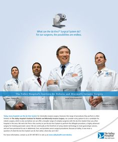 The Valley Hospital - Robotics Campaign print ad; Core Creative, Inc.
