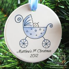Baby's First Christmas Personalized Ornament Baby Boy Blue Carriage Personalized Ornament. $19.00, via Etsy.