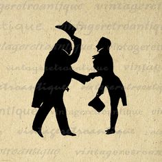 Cordial Meeting Silhouette Printable Graphic Image Top Hat Formal Digital Download Vintage Clip Art. Vintage high quality digital image graphic for fabric transfers, making prints, t-shirts, tea towels, pillows, and more great uses. Real printable antique artwork. Personal or commercial use. This digital image is high quality at 8½ x 11 inches large. Transparent background version included with every graphic.