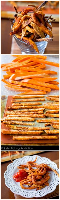 Learn how to make crisp sweet potato fries at home. Baked, not fried. Everyone LOVES these.