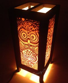 Table Lantern Lamp or Bedside Floor Owl pattern Asian Oriental Japanese Furniture For Home decorate #Lantern NT13