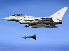 RAF Typhoon dropping a 1000 lb Paveway II laser-guided bomb (Source)