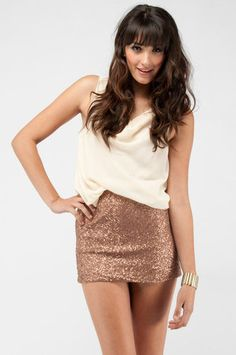Draped Sequin Combo Dress in Bronze and Ivory $77 at www.tobi.com