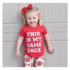 Who's ready for football?! I know we are! This cutie looks perfect in our •GAME FACE• tee! ❤️ • • • • • • #cutekidsclub #igfashion #kidzootd #instagram_kids #trendykiddies #babiesofinstagram #kidzfashion #kidslookbook #kids_stylezz #thechildrenoftheworld #igkiddies #disney #slay #parenthood #mommy #mommylife #mom #momlife #allmommedout #motherhood #mother #ilovefootball #clevelandbrowns #nfl #football