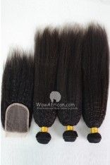 Peruvian Virgin Hair Italian Yaki Hair Weave 3pcs Bundles with A Lace Closure[WB247]