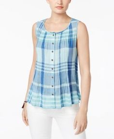 Style & Co Cotton Plaid Shirt, Only at Macy's Short Kurti Designs, Kurta Designs, Blouse Designs, Fancy Tops, Trendy Tops, Casual Tops, Western Dresses For Girl, Cut Up Shirts, Girls Fashion Clothes