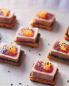 Seared Tuna Steak with Whitefish Roe - Martha Stewart Weddings Recipe. Use a LC/GF cracker or cucumber round as base Canned Tuna Recipes, Fish Recipes, Appetizer Recipes, Cooking Recipes, Sandwich Recipes, Tapas, Wedding Finger Foods, Catering, Seared Tuna