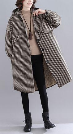 Womens LadiesHooded Plaid Coat Long Sleeve Jacket Winter Outwear Warm Overcoat