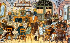Josef Lada Josef Lada Hrusice - Prague) was a Czech painter, illustrator and writer.Painting: In a village pub. The Good Soldier Svejk, Prague, Old Houses, 18th Century, Illustrators, Folk Art, The Past, Traditional, Drawings