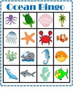 Preschool June Fun At the Beach. free printable ocean or beach theme bingo game Ocean Themes, Beach Themes, Summer Themes, Under The Sea Theme, Ocean Crafts, Preschool Crafts, Preschool Summer Theme, Preschool Ocean Activities, Classroom Activities