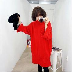 Korea Pure Color Round Collar Knit Flare Sleeve Dress ($9.5) http://www.clubwholesale.net/women/sweaters