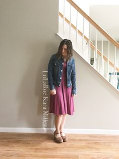 LuLaRoe heathered Nicole dress with a jean jacket and Dansko sandal clogs for summer fashion trends and style inspiration!  Shop here: https://www.facebook.com/groups/LularoeKaraMiller/
