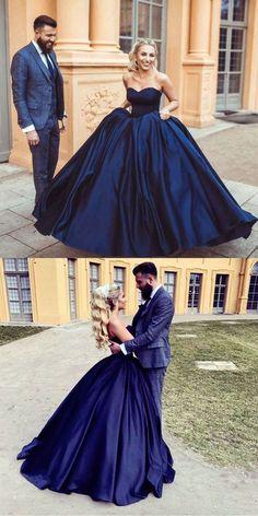 Navy Blue Ball Gowns,Satin Wedding Dress,Engagement Dress,Ball Gown Wedding Dress,Navy Blue Prom Dress