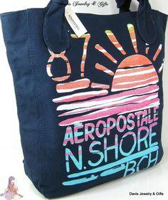 Aero Aeropostale XL Tote Purse Shoulder Bag Navy Blue Beach Sunset Shore NWT NR