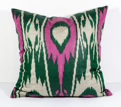 15x15 green pink ikat pillow cover cushion oriental by SilkWay