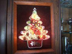 Vtg. Framed LIGHTED Jewelry Christmas Tree Art Folk Handmade  on Velvet