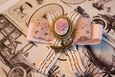 """Брошь с камеей из лент """"Старые письма"""" роза"""