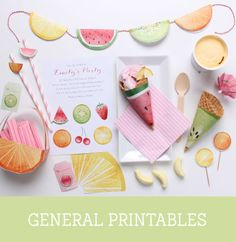 Free Feeling Fruity Printable Party Toppers and Tags ~ Tinyme