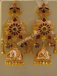 Heavy look Gold Earrings
