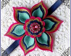 Princess Flower Sparkle Headband Hair Clip or Barrette  ~ Frozen Anna ~ Custom Size ~ Wool Felt Petals and Rhinestone Glitter