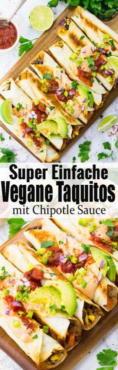 Leckere mexikanische Rezepte gesucht? Dann sind diese Taquitos mit Chipotle Sauce genau richtig für euch! Das perfekt Wohlfühlessen! Vegane Rezepte und vegetarische Rezepte können so lecker und einfach sein!! Mehr leckere Rezepte findet ihr auf veganheaven.de via @veganheavende