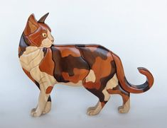 Calico Cat Intarsia Wall Hanging Wood Carving Wooden Kitten