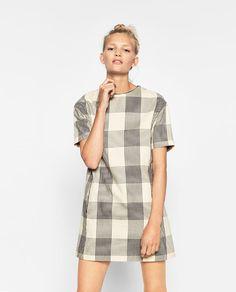 ZARA - TRF - CHECKED STRAIGHT-CUT DRESS