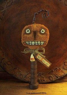 Jack-PrimiTive OriginaL Halloween Pumpkin JOL FoLk Art Punch NeedLe Make-do #NaivePrimitive