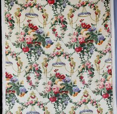 Kravet couture fabric Catalina cream color cotton velvet w pink green purple red flowers and pots shabby chic roses birds nest luxurious