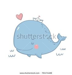 Cute print with whale for baby