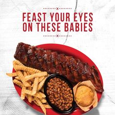 Come get a Baby Back Rib Dinner with a full rack two sides and crispy garlic bread or homemade cornbread.