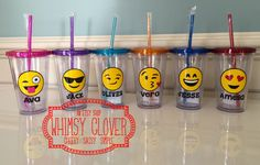 Personalized Emoji 16oz Double Wall Acrylic Tumbler with Straw, Customize with Name and Preferred Emoji Design! - Great Birthday Party Favor by WhimsyClover on Etsy https://www.etsy.com/listing/479245883/personalized-emoji-16oz-double-wall