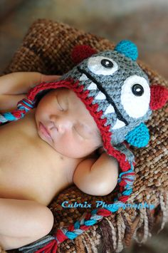 Crochet monster hatbaby hatphoto by KCrochetdesigns on Etsy, $35.00