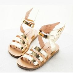 These shoes are comfortable to wear and secure with a velcro around the ankle. Very easy and functional! These metallic gold gladiators are all the craze this season! Make sure your little one gets on trend. Measure your child's foot and order .5 inches up to ensure a good fit.... #angelshoes #angelfashion #angelsandles modernechild.com