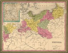 Prussia 1849 Mitchell Historic Map Reprint