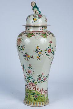 Large Chinese Famille Rose Porcelain Covered Vase, Modern