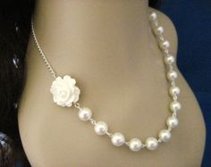 White Rose Necklace white Flower necklace White by Diaszabo