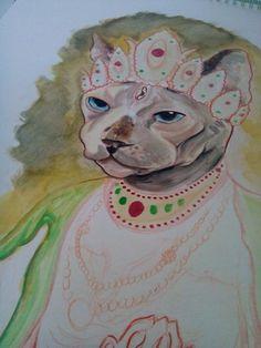 Sphynx Goddess Watercolor Face