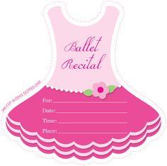 Printable ballet dress invite