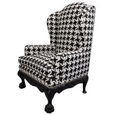 1stdibs | Ball and Claw English Wing Chair in Houndstooth with Nickel Nail Head Details $8,800 Purchase > COUNTRY: 	England CREATION DATE: 	1900's- 1920's MATERIALS: 	Houndstooth Upholstery, Nickel Nailhead detailing CONDITION: 	Excellent. Reupholstered LENGTH: 	34 in. (86 cm) DEPTH: 	21 in. (53 cm) HEIGHT: 	4 ft. 1 in. (124 cm) SEAT HEIGHT: 	19 in. (48 cm) DEALER LOCATION: 	New York, NY NUMBER OF ITEMS: 	1 REFERENCE NUMBER: 	13013181781624 Venfield