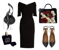 """garden party ( night )"" by iuliaandreeab ❤ liked on Polyvore featuring Aquazzura, Dolce&Gabbana, Philip Treacy and Chanel"