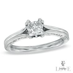 Vera Wang LOVE Collection 7/8 CT. T.W. Princess-Cut Diamond Engagement Ring in 14K White Gold - Zales