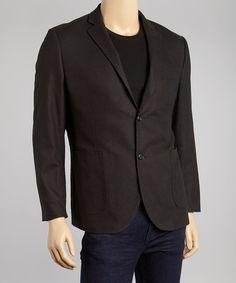 Look at this #zulilyfind! Black One-Button Linen-Blend Jacket #zulilyfinds