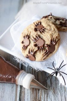 Chocolate Chip Spider Cookies - An easy to make Halloween treat!