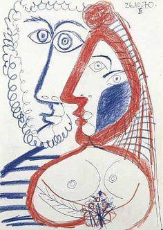 Pablo Picasso - 1970 Homme et femme au bouquet
