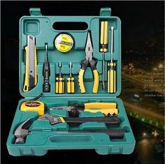 Home Accessories Tools 13 PCS/ SET Combination Tool Boxes Hammer Pliers Screwdriver Wrenches Knife Hand Work Household Tool Set #Affiliate