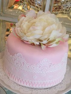 Gorgeous lace covered cake!  See more party ideas at CatchMyParty!